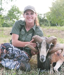Lowrey with a corsican ram she took down in Texas this summer.