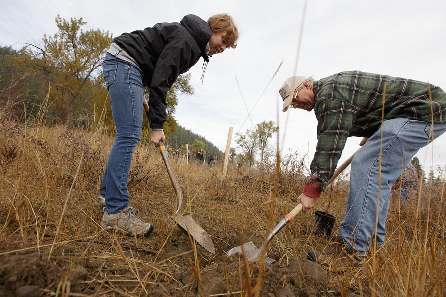 Maggie Harger, left, and her father David dig a hole to plant a tree. - YOUNG KWAK