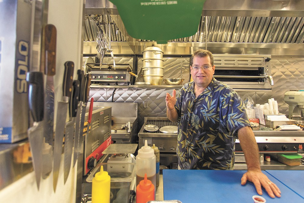 Marina's owner Aaron Steinberg in the north Spokane restaurant's kitchen. - MATT WEIGAND