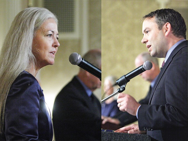 Mary Verner at a recent debate with challenger David Condon. - YOUNG KWAK