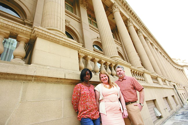 Masonic Center co-owner Luisita Francis Newell (left), events manager Kimberley Scott (center) and project manager Matt Ragan in front of the century-old building. - YOUNG KWAK