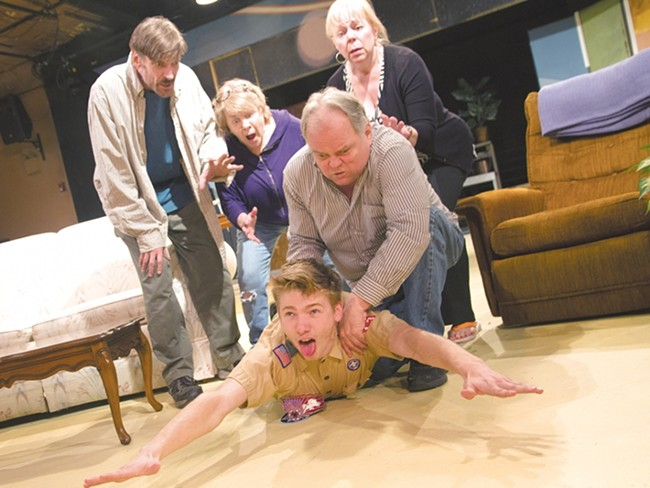 "Maxim Chumov, as Levi, is choked by Ron Ford in ""Seeds of Change."" - JENNIFER DEBARROS"