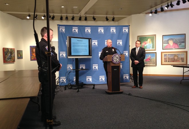 Police Chief Frank Straub speaks at the press conference Wednesday afternoon. - HEIDI GROOVER