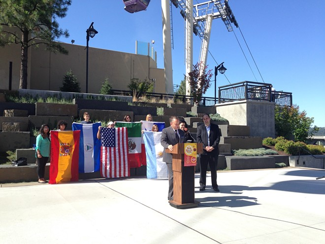 Mayor David Condon announces Fiesta Spokane and Spokane's new sister city, San Luis Potosi. - HEIDI GROOVER