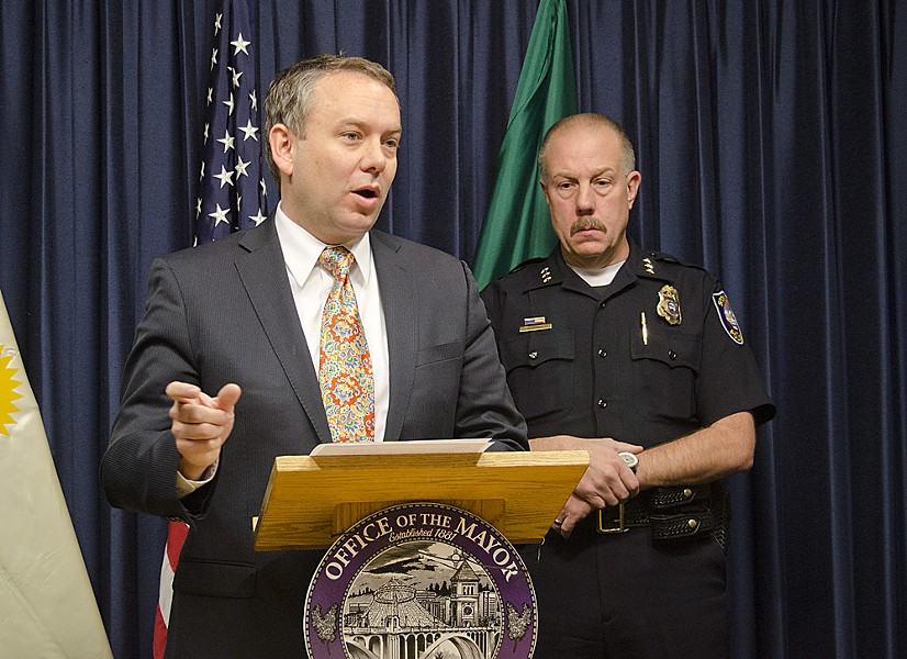 Mayor David Condon, left, and Police Chief Frank Straub at the press conference this morning. - JACOB JONES