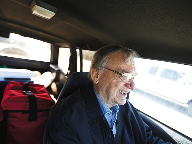 Meals on Wheels Volunteer Ed Eichwald drives to make a meal delivery in Coeur d\'Alene. - YOUNG KWAK