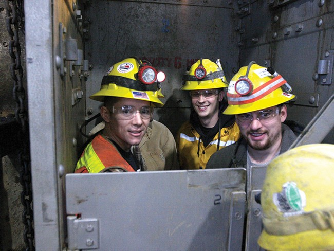 Miners take the ride down to their working level at the Galena Mine, in Wallace, Idaho on Wednesday January 4, 2012. - YOUNG KWAK