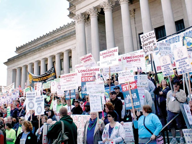 More than 7,000 protestors gathered in Olympia last week. - HOUSE DEMOCRATIC COMMITTEE PHOTO