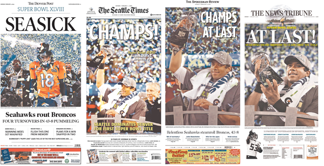 From left: Denver Post, Seattle Times, Spokesman-Review, Tacoma News-Tribune - NEWSEUM