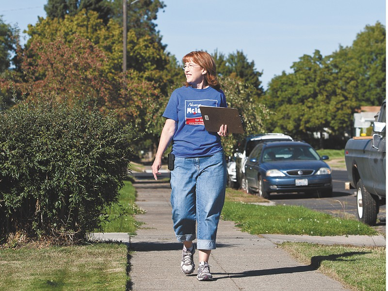 Nancy McLaughlin door-belling recently in the 3rd District. - STEPHEN SCHLANGE