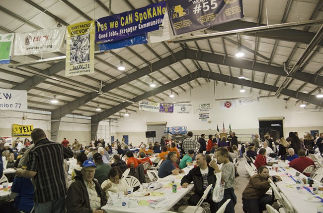 Workers gather for 2013 Spokane Labor Rally. - JACOB JONES