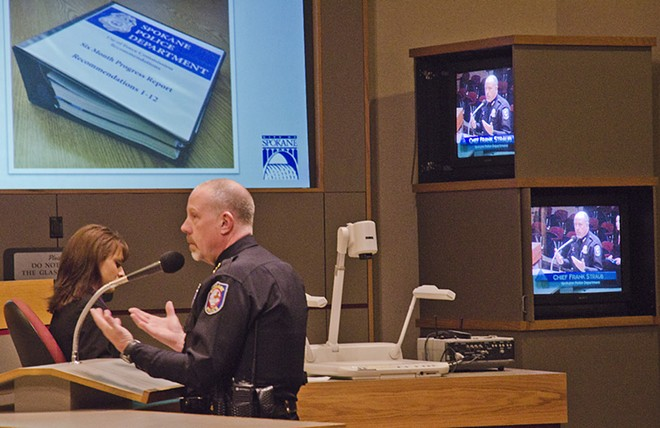 SPD Chief Frank Straub addresses the city's Use of Force Commission on Thursday. - JACOB JONES