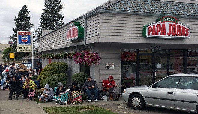 People got up really early this morning in hopes of winning free pizza for a year. - PAPA JOHN'S SOUTH HILL