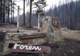 A sign marking the Okanogan National Forest sits burnt and broken along Highway 20 west of Omak. - JACOB JONES