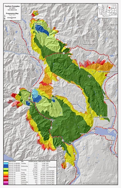 Fire officials released this map showing the spread of the fire from green areas to the brighter edges.