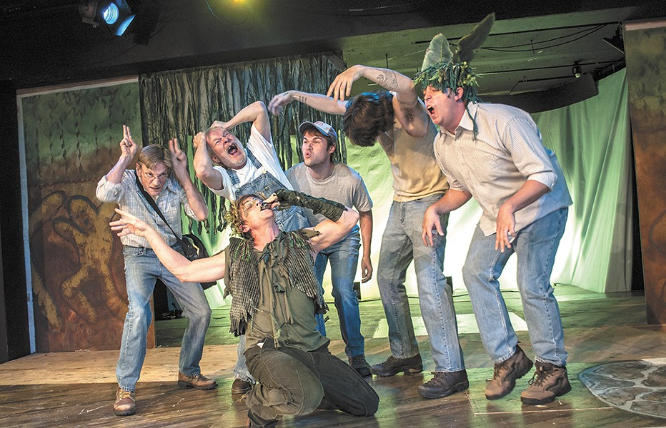 Nich Witham (center) plays the mischieveous Puck in Interplayers' A Midsummer Night's Dream. - SARAH WURTZ