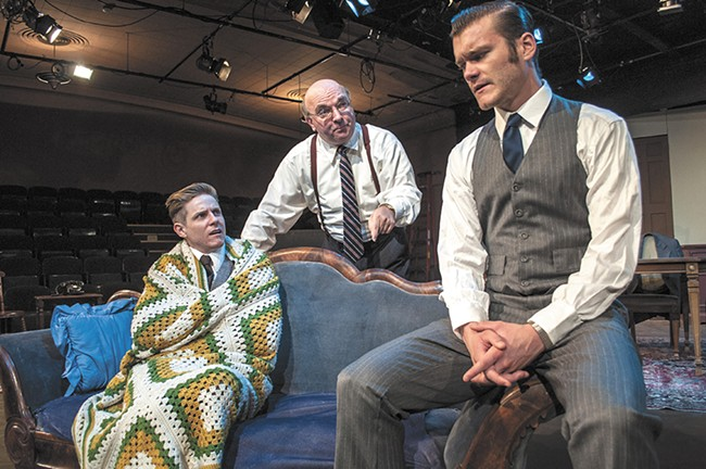 Nich Witham (left) plays Eugene Jerome in Broadway Bound, alongside Jerry Sciarrio (center) and Dalin Tipton. - SARAH WURTZ