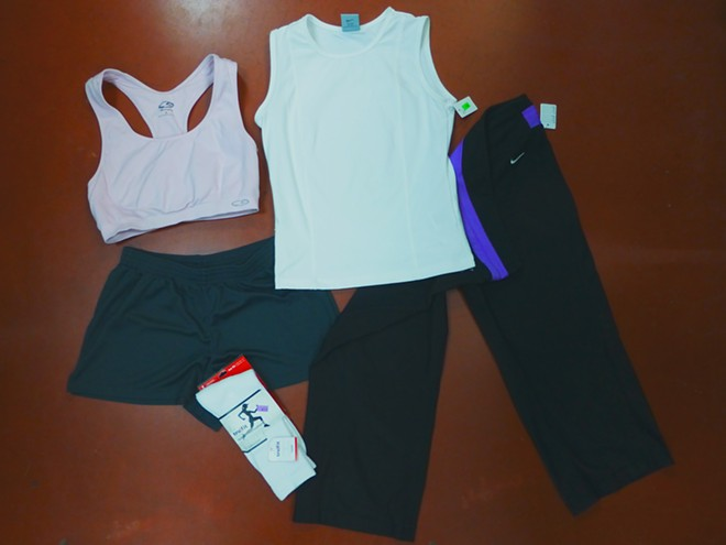 Nike leggings, $3.99; Champion sports bra, $1.99; Nike tank, $1.99; Trufit (new) socks, $1.59. - MADISON BENNETT