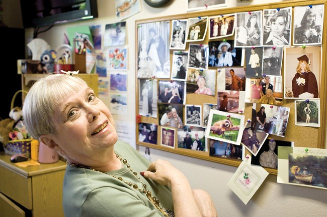 Norma Melone at Royal Park Care Center, with photos from her days as an actress. - STEPHEN SCHLANGE
