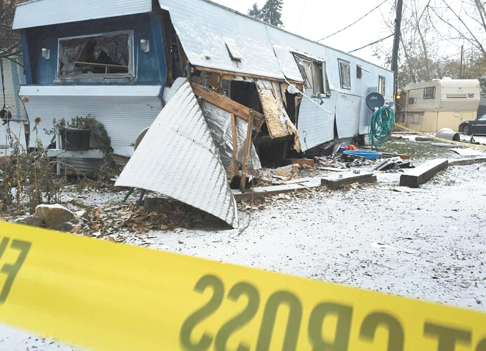 Officials believe an illicit hash oil lab caused this mobile home to exploded last week. - KXLY PHOTO