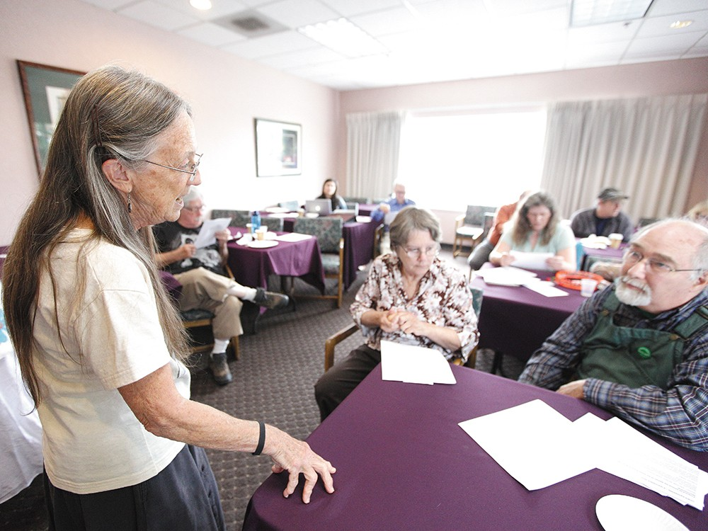 Outreach Coordinator Jody Grage, left, speaks with Morton Alexander,  at last weekend\'s Green Party gathering. - YOUNG KWAK