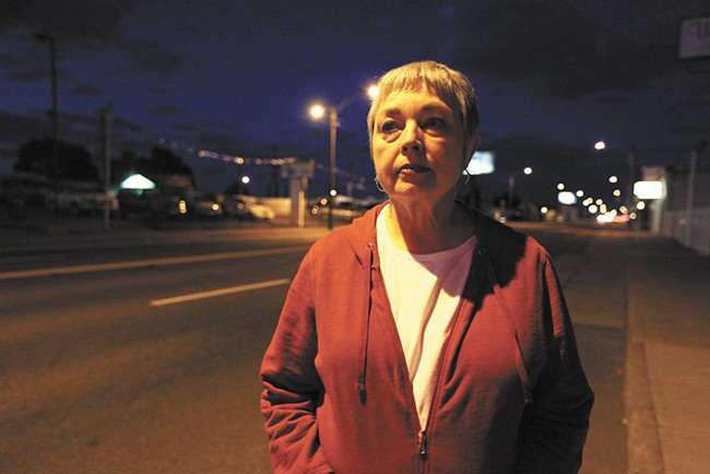 Outreach worker Lynn Everson worries that women who sell sex on East Sprague will simply move to out-of-the-way spots. - YOUNG KWAK