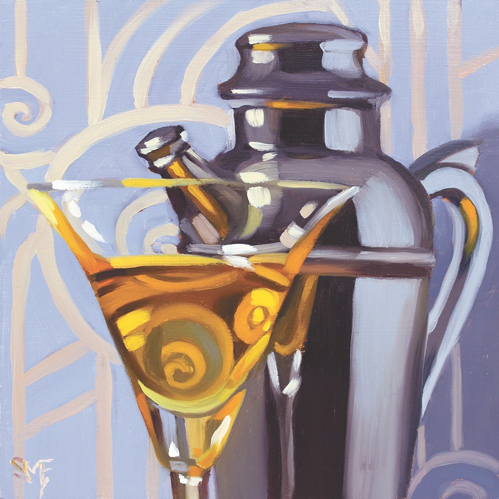 Paintings that appear in Sheila Evans new book of cocktail recipes and paintings, entitled Mixology: the Art of Classic Cocktails.