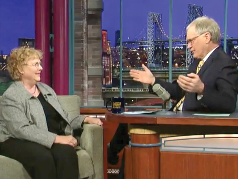Pam Stout, a founder of the Sandpoint Tea Party, on the Late Show with David Letterman in 2010.
