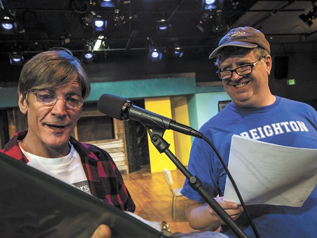 Patrick Treadway (left) and Michael Weaver rehearse a scene from Greater Tuna. - JEFF FERGUSON