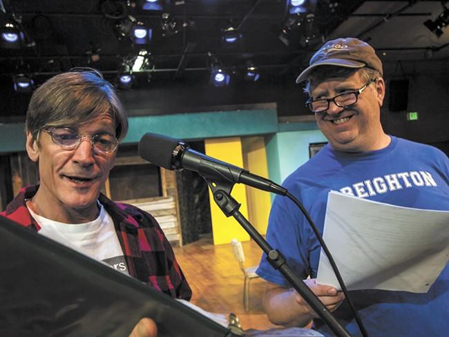 Patrick Treadway (left) and Michael Weaver rehearse a scene from Greater Tuna. - JEFF FERGUSON