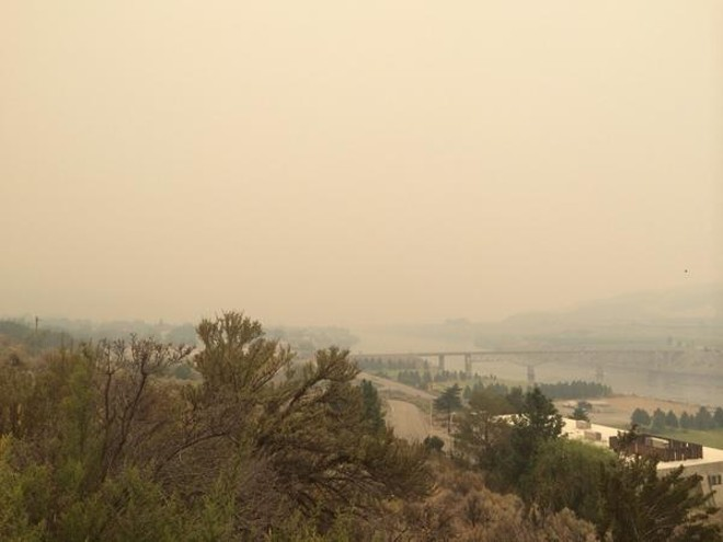 View from Bridgeport. Ash coming down. Upstream on Columbia River is Pateros. - SCOTT LEADINGHAM