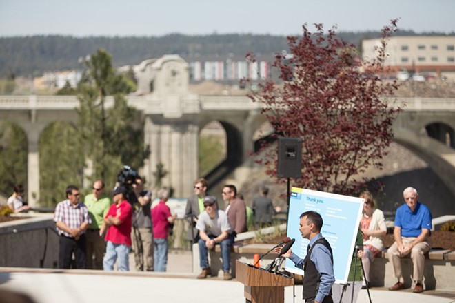 Spokane Tribe Chairman Rudy Peone speaks during the dedication. - YOUNG KWAK