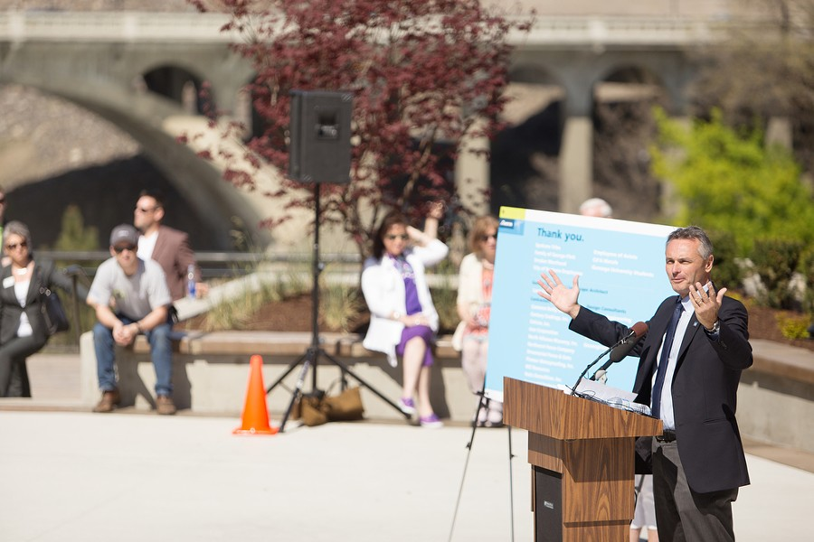 Avista CEO Scott Morris speaks during the dedication. - YOUNG KWAK