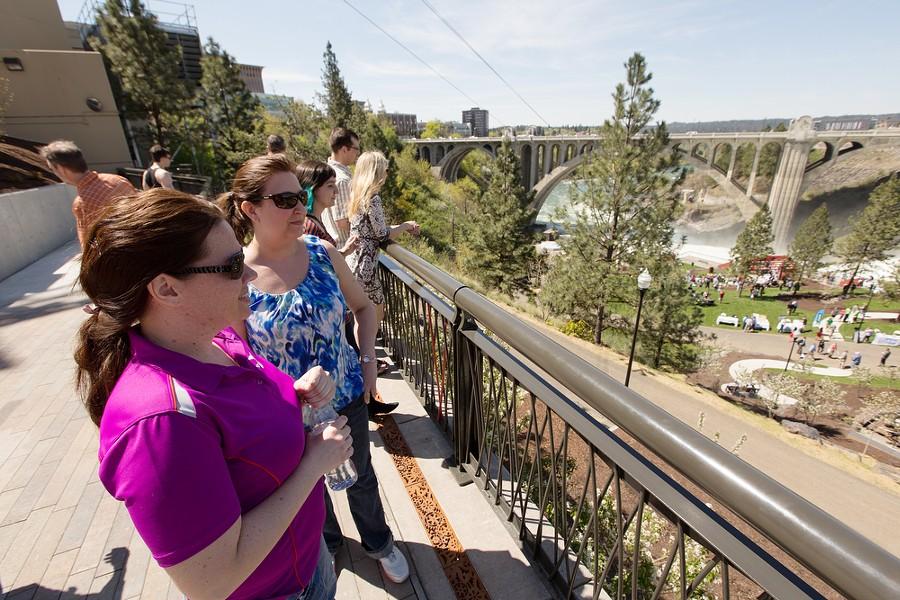 Rachel Leibrant, left, and Mary Berry look towards Huntington Park. - YOUNG KWAK
