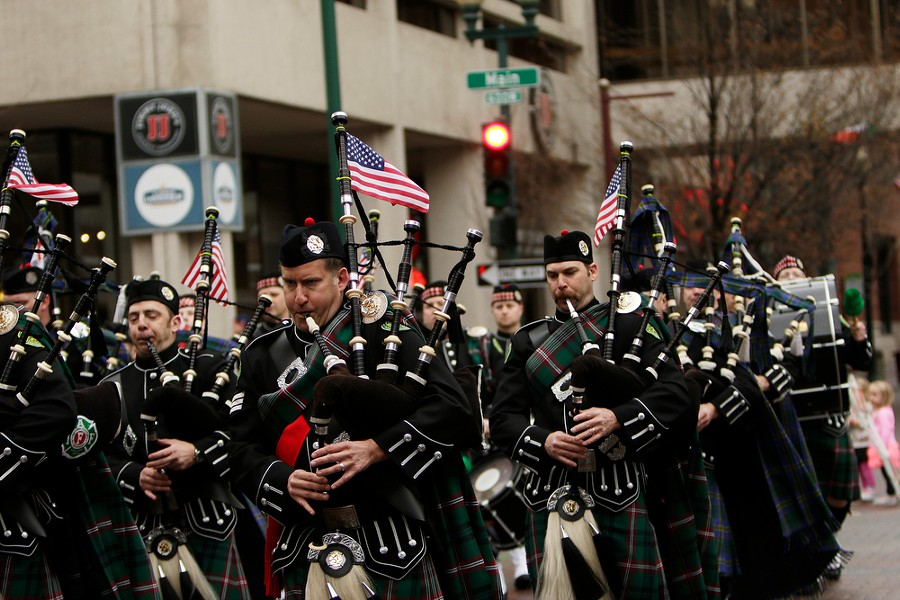The Spokane County Firefighters Pipe and Drums performs. - YOUNG KWAK