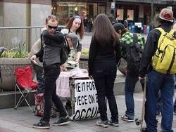 Distributing pie in Seattle.