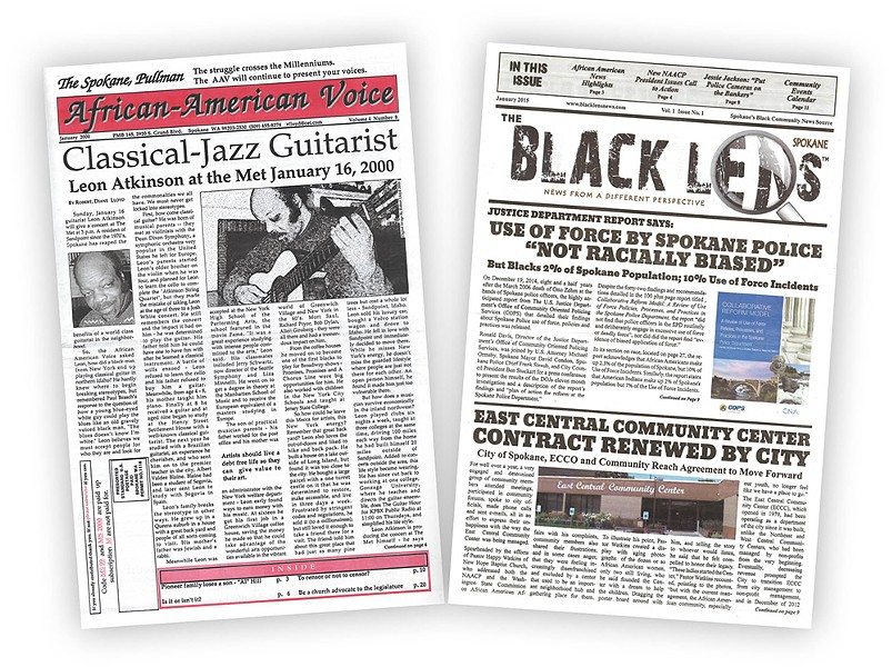 Robert Lloyd published the African-American Voice, left, from 1995 to 2000. Sandy Williams released the first issue of Black Lens earlier this month.