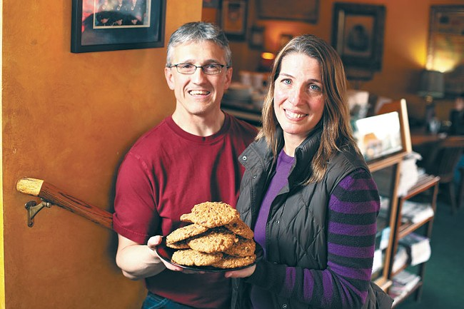 Rocket owners Jeff and Julia Postlewait at their original Millwood location with a plate of their oatie cookies. - YOUNG KWAK