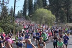 Runners head down Riverside Avenue.