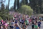 Runners head down Riverside Avenue.