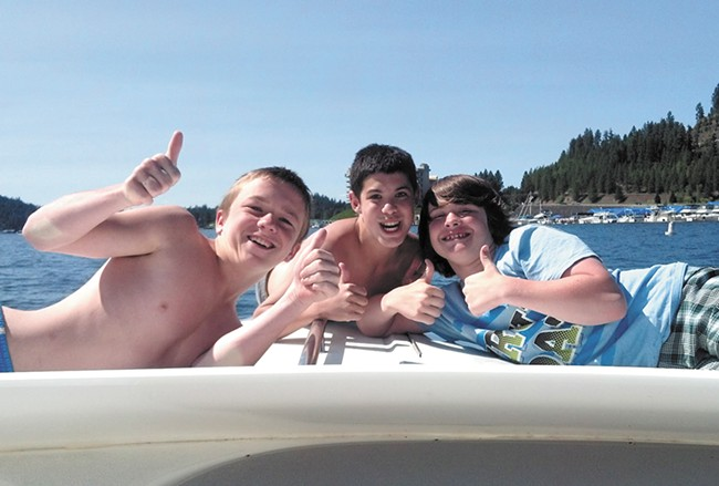 Ryan Holyk with friends at Lake Coeur d'Alene.