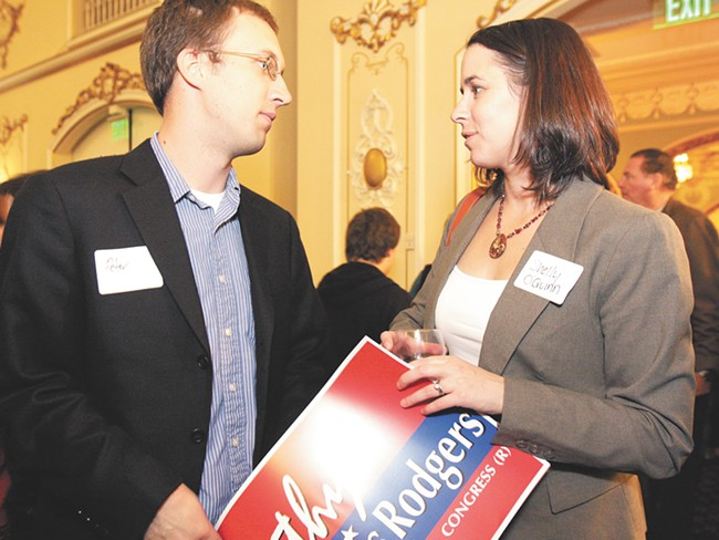 S helly O'Quinn, pictured here at an election event in 2010, may not have the name recognition of her opponent, but she has a lot more money. - YOUNG KWAK