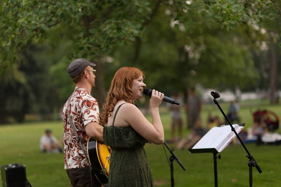Sara, center, and Jesse Brown, of the Sara Brown Band, perform. - YOUNG KWAK