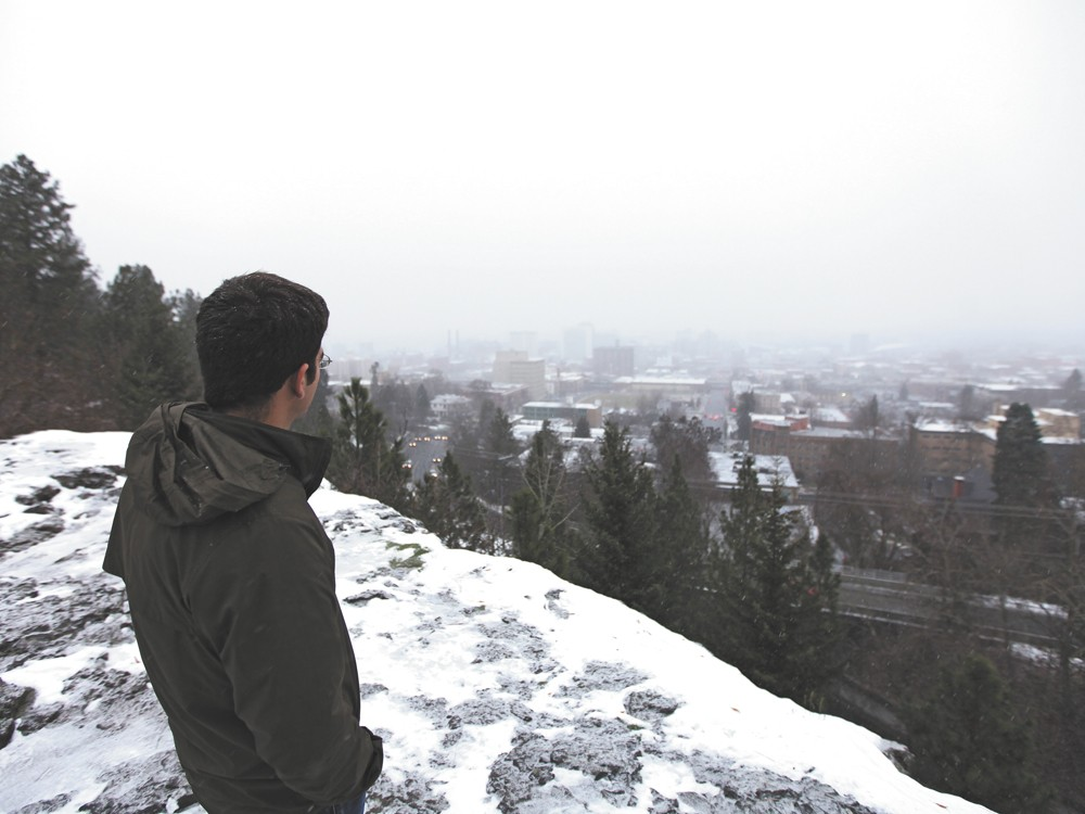 Scott Leadingham enjoys the view of downtown, his home for the time being. - YOUNG KWAK