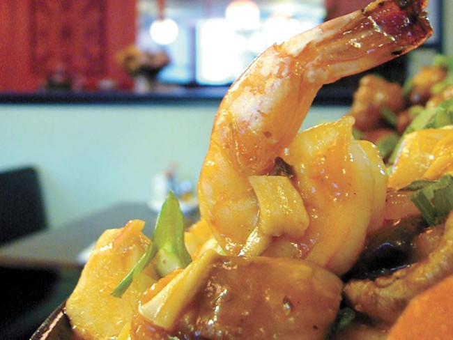 Seafood sizzling rice from Canton Asian - CARRIE SCOZZARO