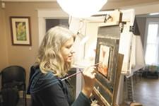Sheila Evans paints a Manhattan cocktail. - YOUNG KWAK
