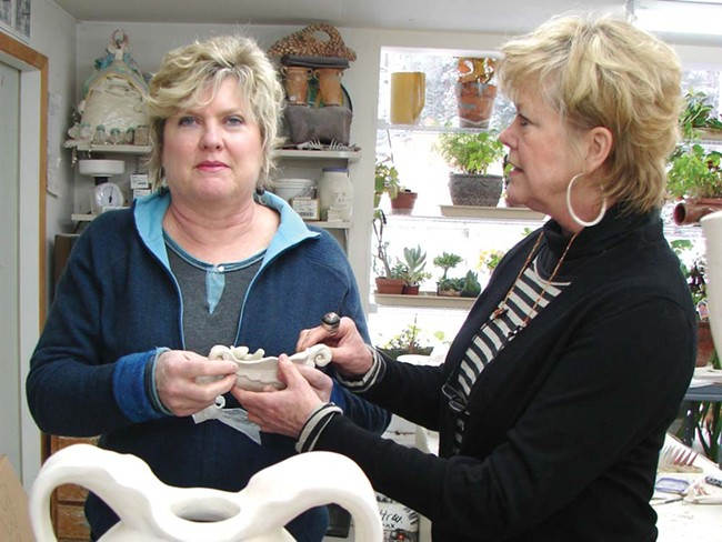 Sisters Gina Freuen (left) and Kay O'Rourke in Freuen's studio - CARRIE SCOZZARO