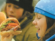 Skiers get healthy fare, like the Whitewater Veggie Burger, at Fresh Tracks - DAVID R. GLUNS