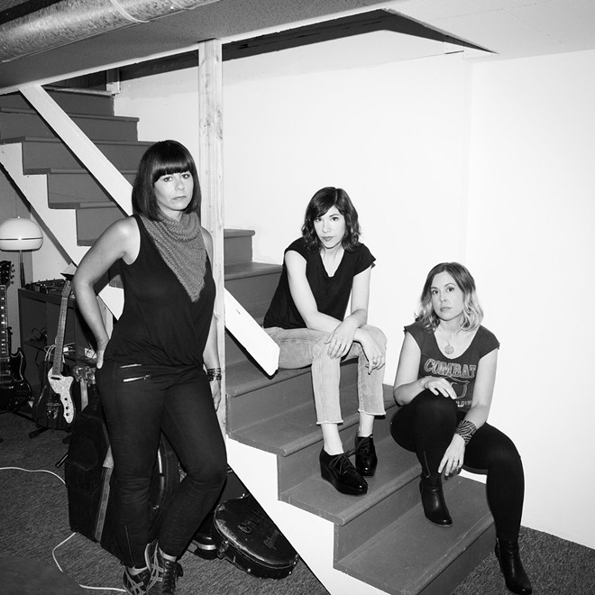 Sleater-Kinney: (left to right) Janet Weiss, Carrie Brownstein, Corin Tucker