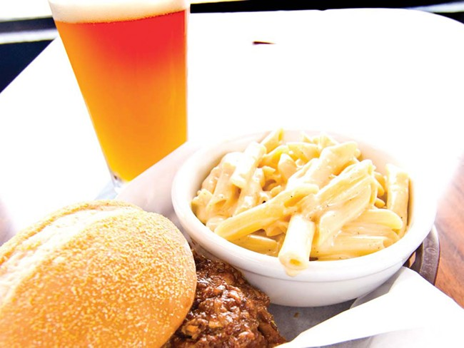 Smoked Pulled Pork Sandwich and mac 'n cheese. $7.45 - TAMMY MARSHALL